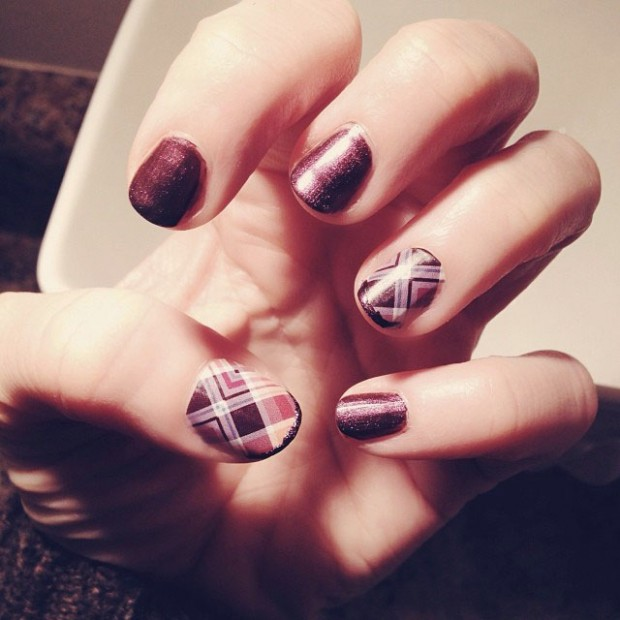 Plum Manicure with Plaid Accent Nails by Jamberry Nail Wraps ...
