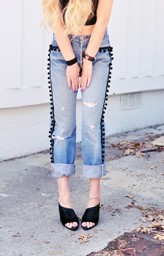 pom pom jeans vintage levis -alexander wang mules