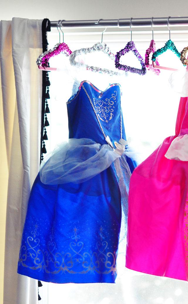 princess dresses for girls on princess hangers DIY