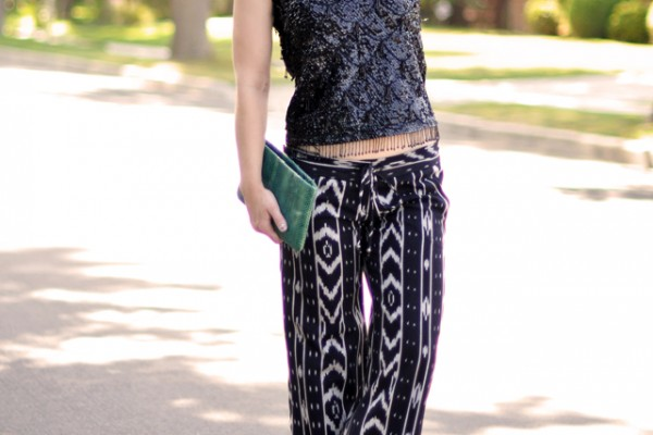 print pants-vintage sequin tank - round sunglasses