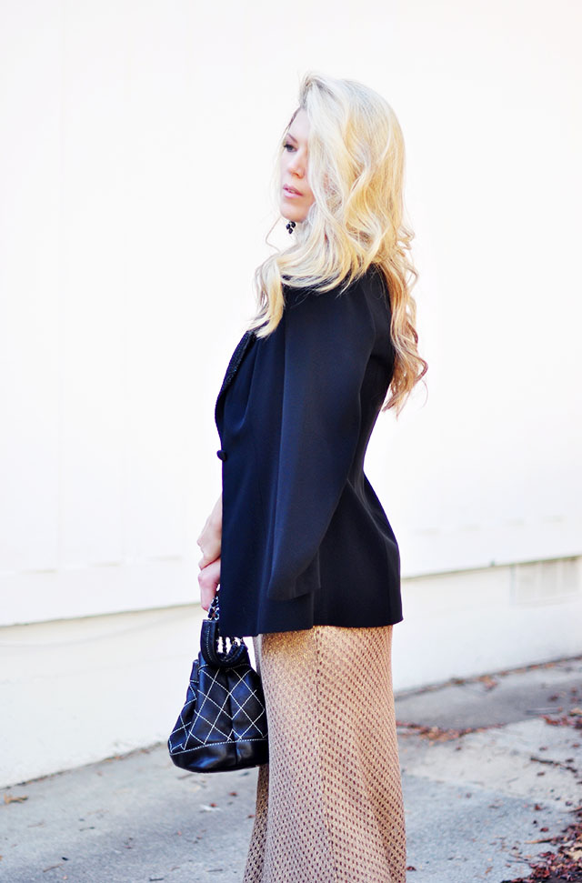 quilted chanel bucket bag-vintage dress and blazer