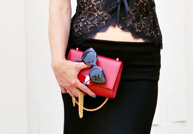 red ferragamo clutch bag with gold chain