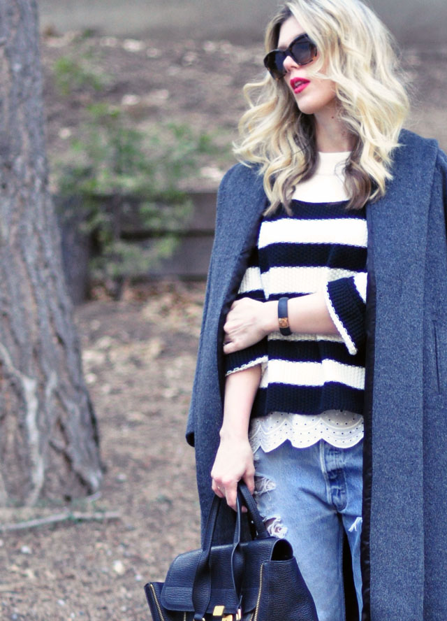 red lips-blonde waves- striped sweater