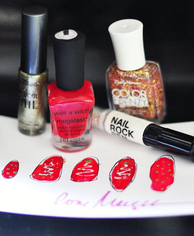 red white glitter christmas nails