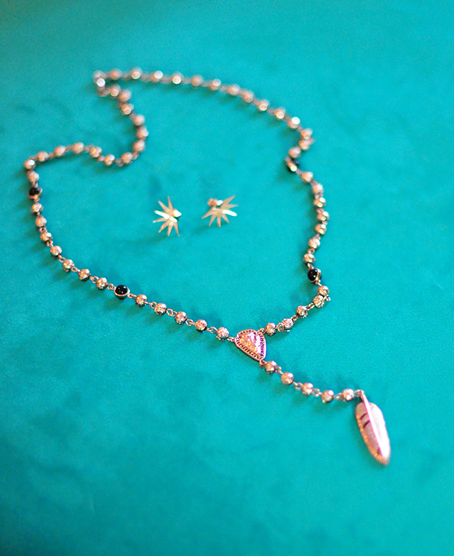 rose gold pamela love rosary bead necklace