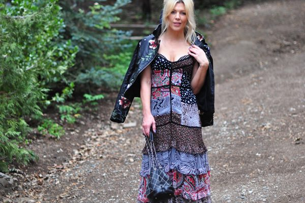 ruffled maxi dress-floral embroidered leather jacket-chanel bag -love maegan