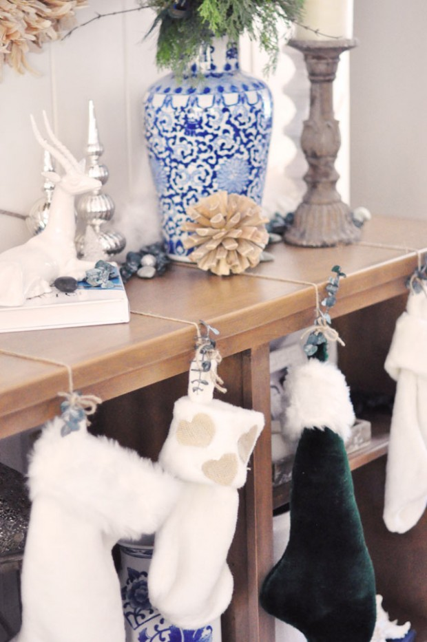 rustic stockings hung on shelves