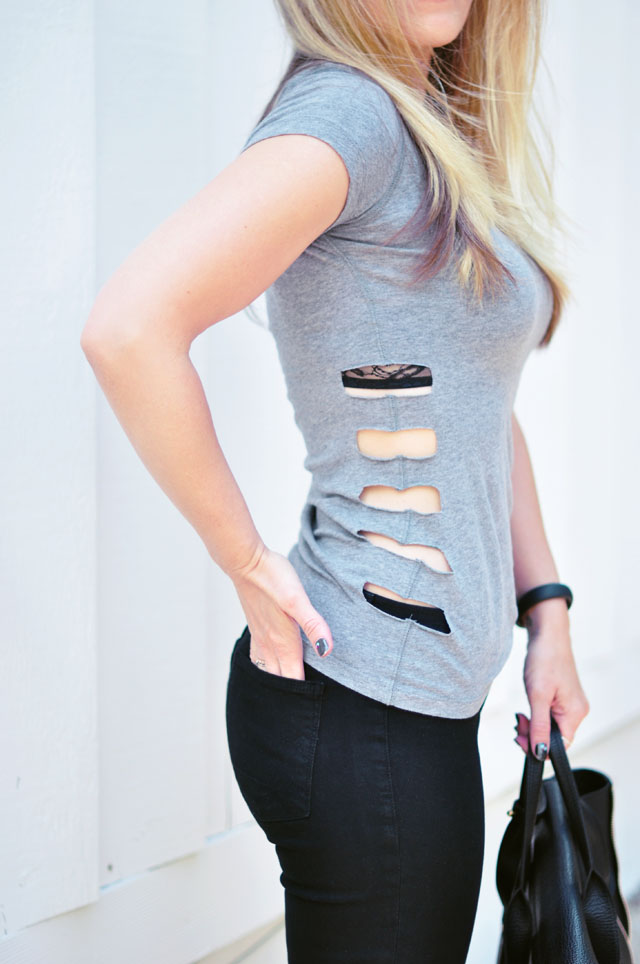 side cut out t-shirt diy
