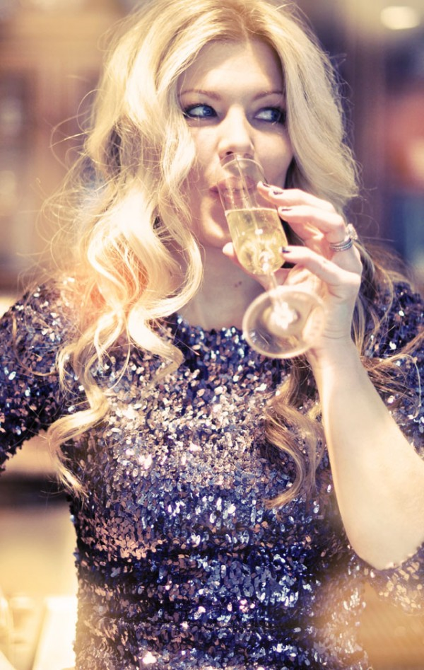 sipping champagne in sequins