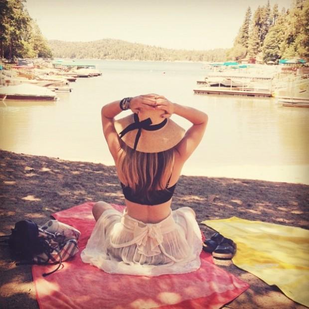 sitting on the lake