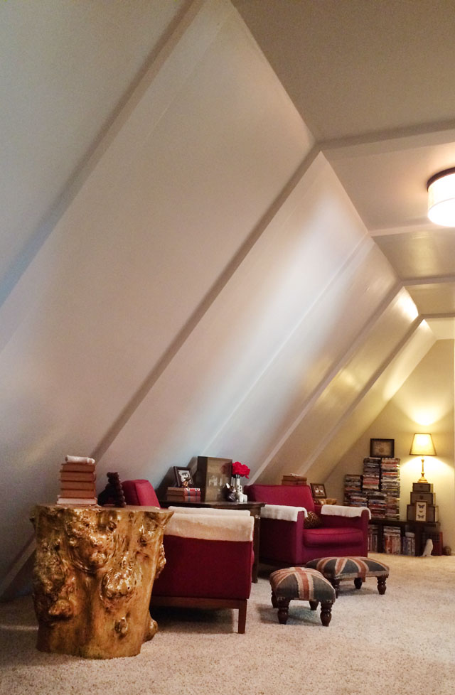 slanted ceiling long hallway