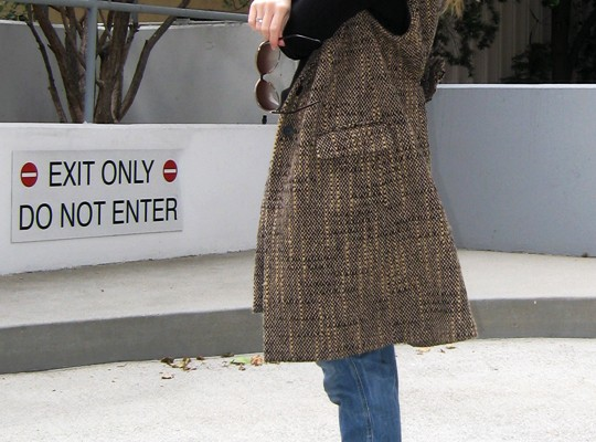 sleeveless tweed coat