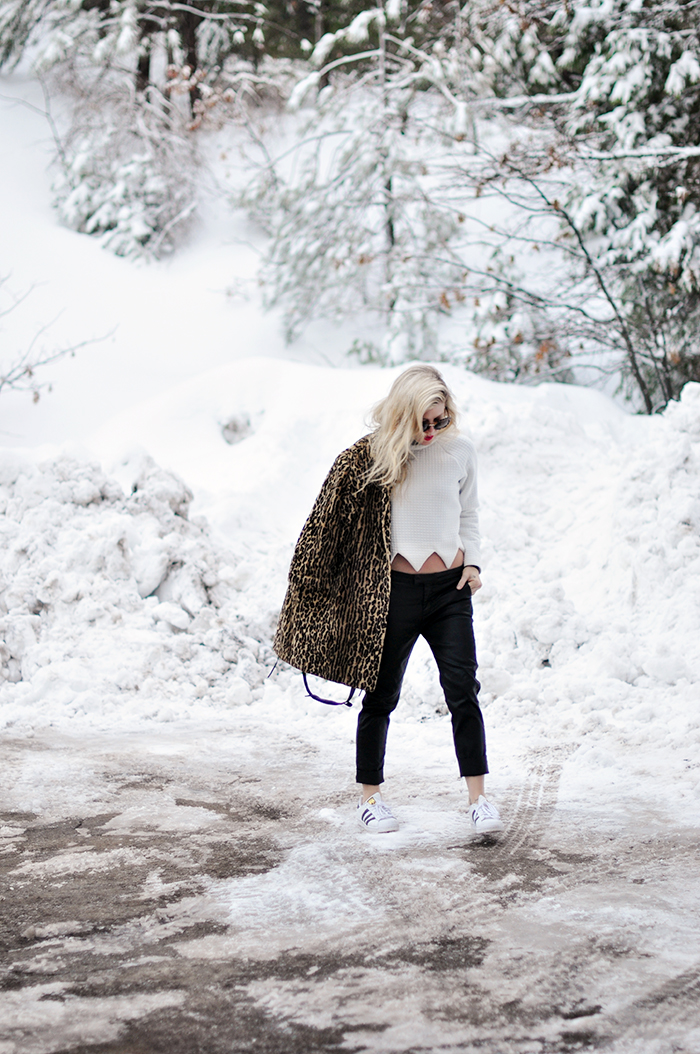 snow style_leopard coat_adidas