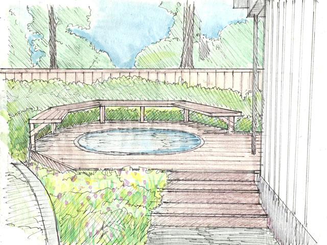 spa area wood deck