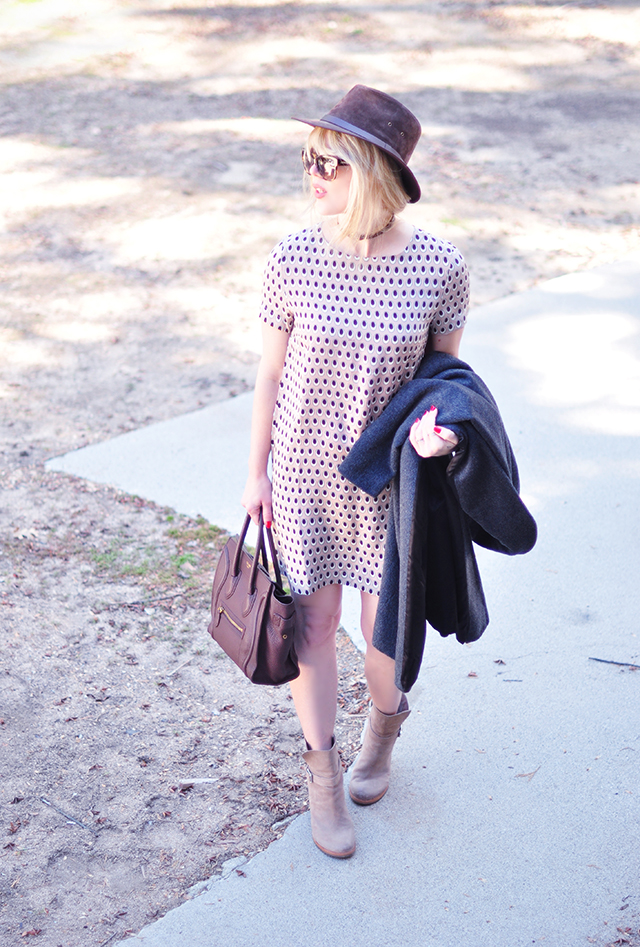 spotted dress_brown and gray accessories
