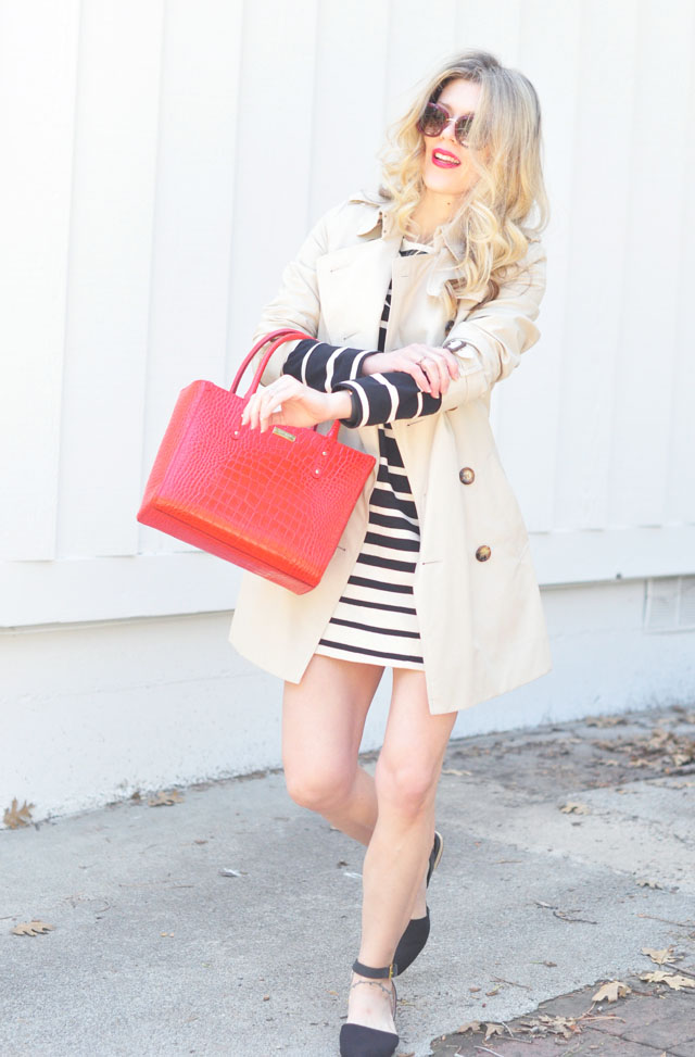 spring classics+red+white+black_and a trench
