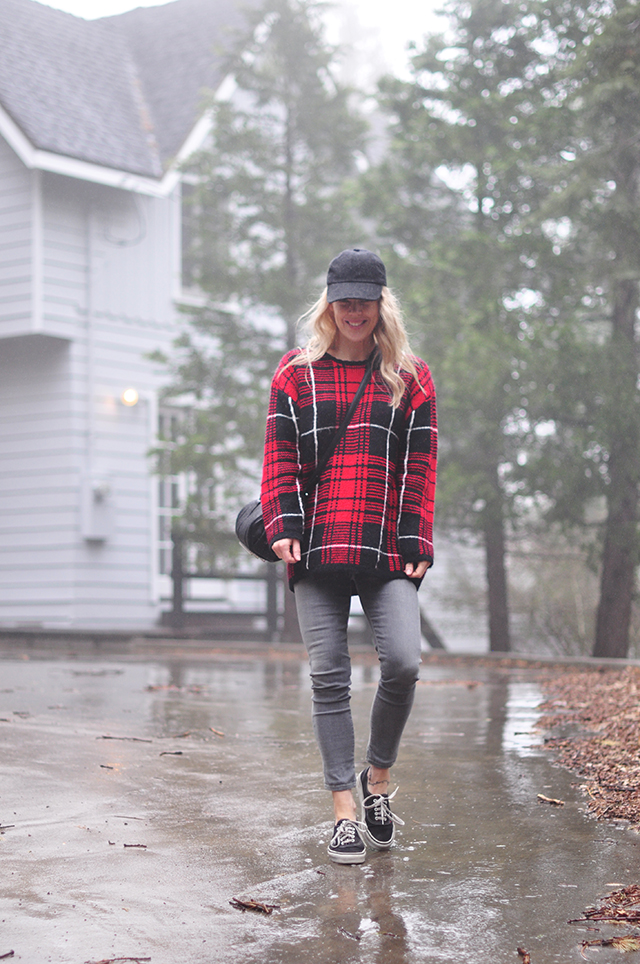 grey and black and red in the rain - fall style