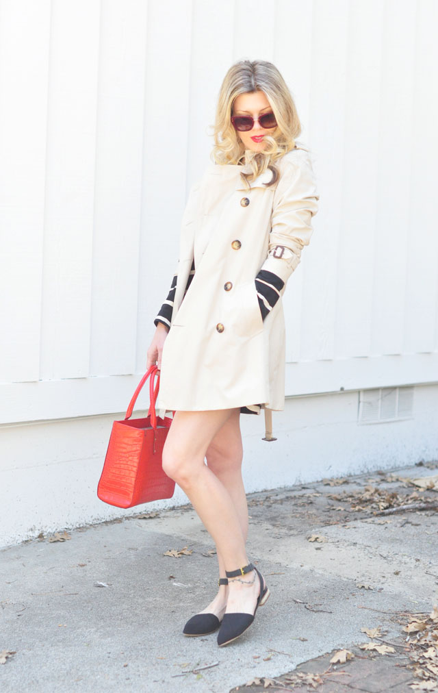 spring trench coat with flats