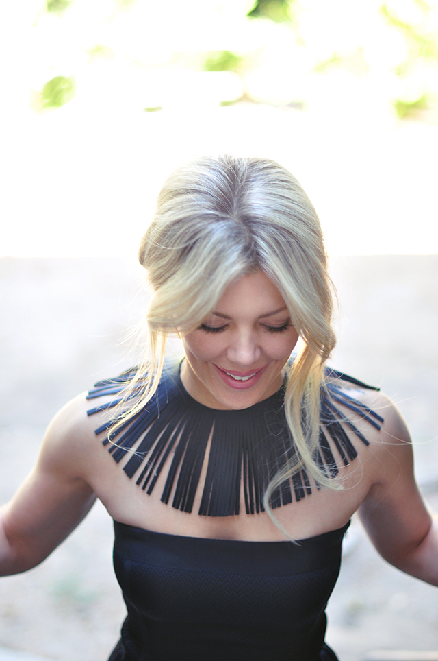 strapless-dress-with-fringe-collar-necklace