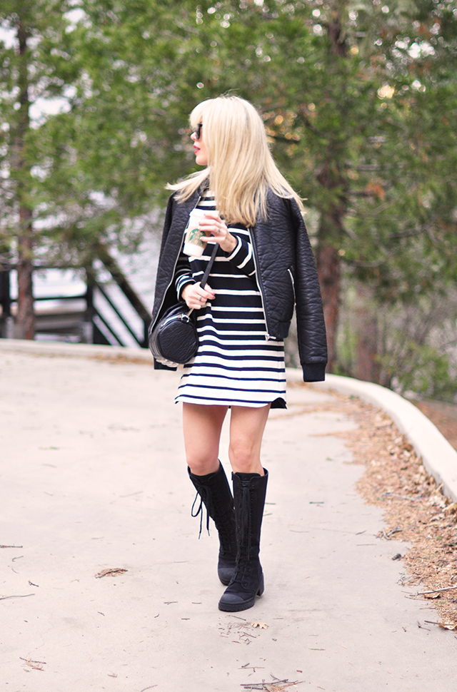 striped shift dress_combat boots_leather bomber jacket