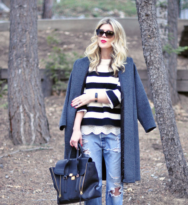 striped sweater -lace peeking out-vintage levis boyfriend jeans