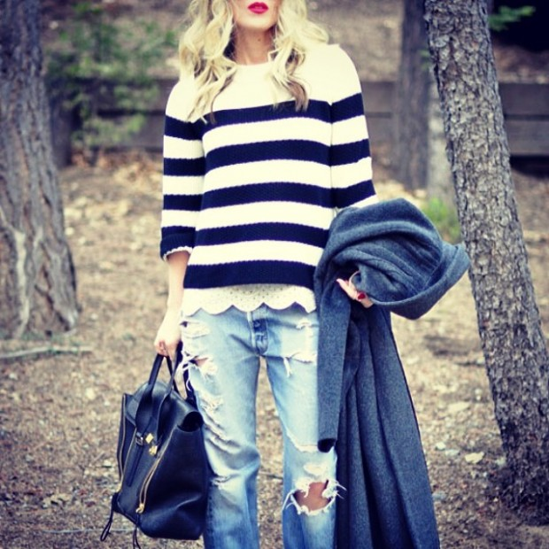 stripes and ripped jeans
