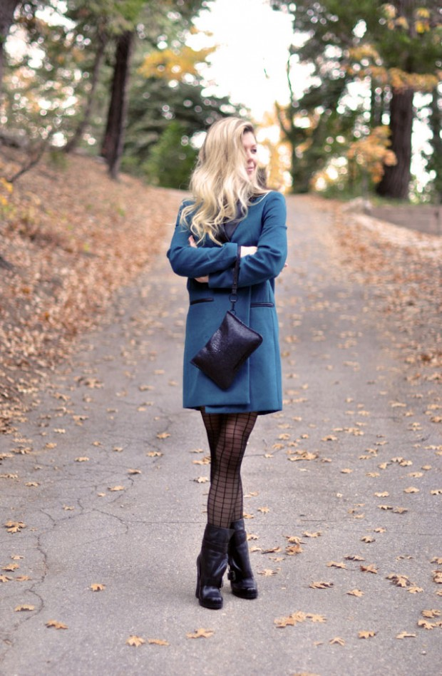 teal jacket-boots-patternened tights