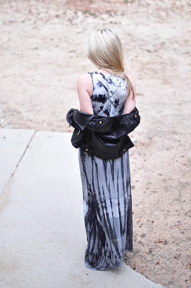 tie dye maxi _back_ with leather jacket