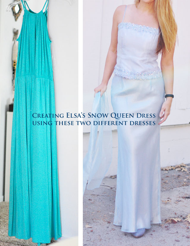 two dresses to create elsas snow queen look