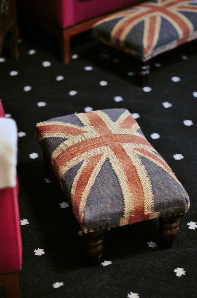 union jack ottomans+ black and white rug