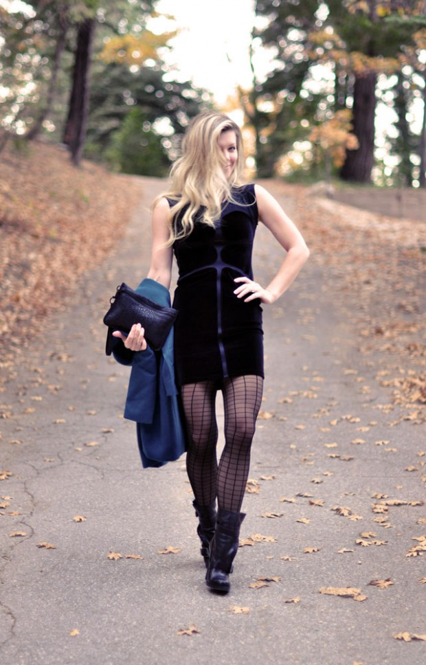 velvet dress-teal jacket-boots