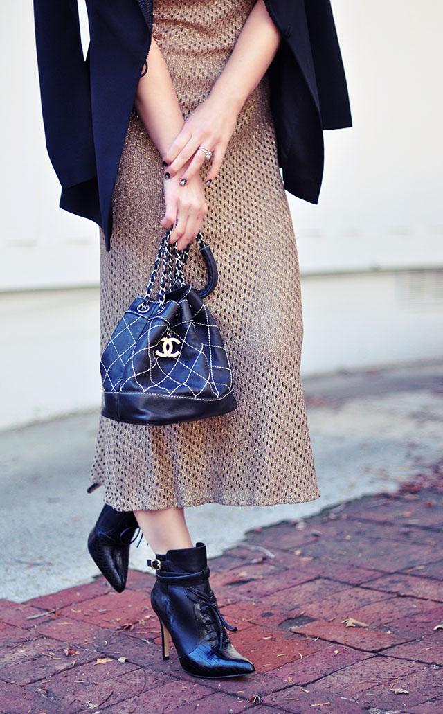 vintage gold mesh dress-chanel bag-altuzarra boots