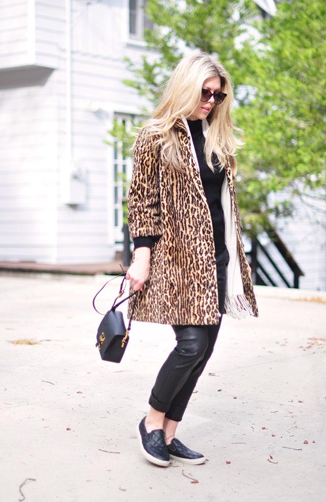 vintage leopard coat with black on black