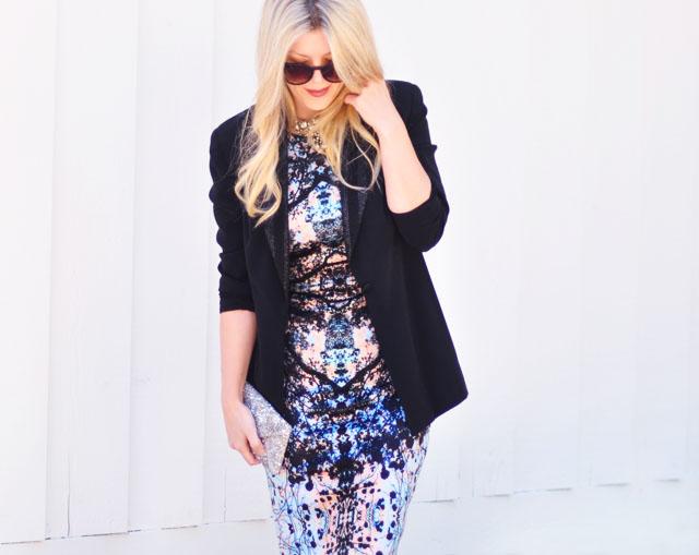 what to wear to a business party-sheath dress+blazer