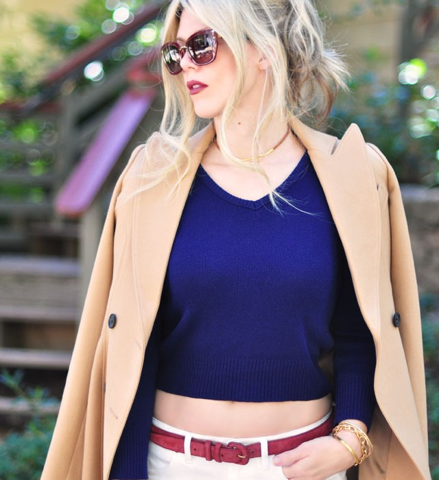 white jeans +camel coat+navy+burgundy
