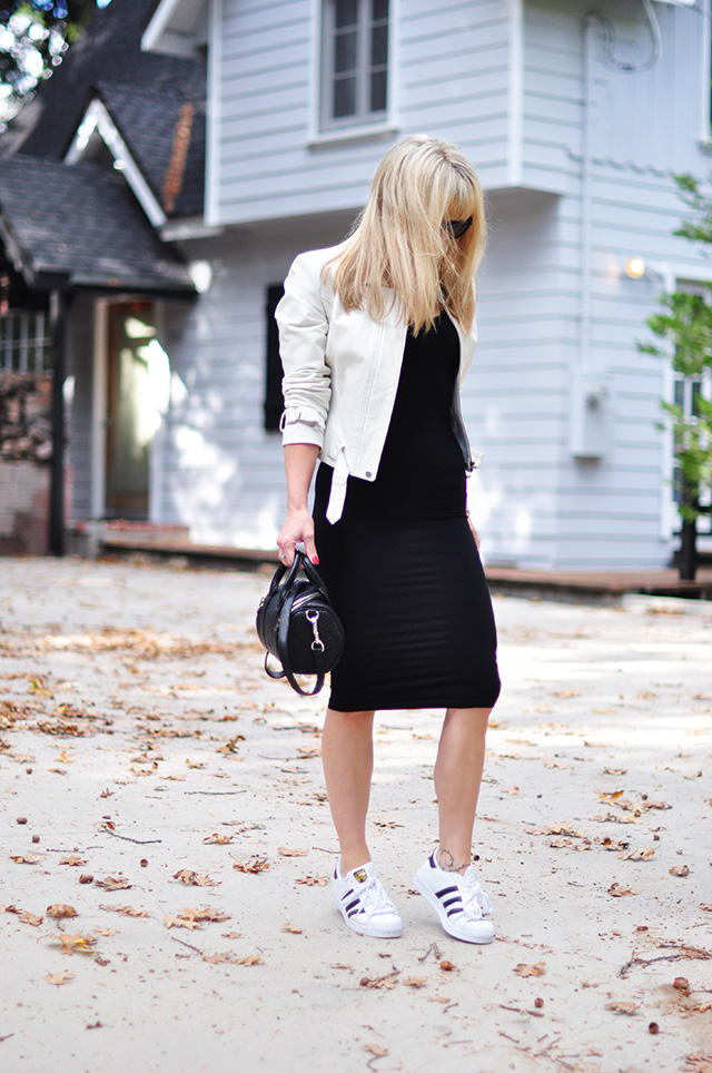 white leather jacket_adidas_black dress