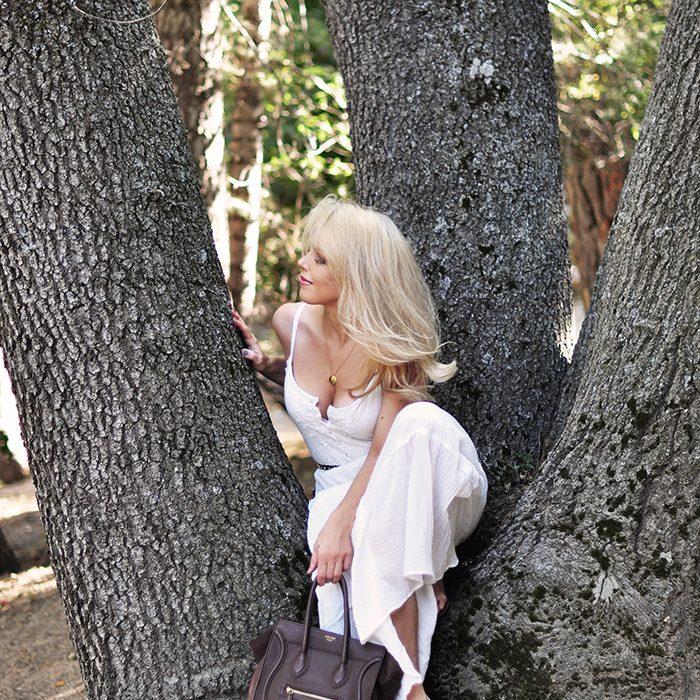 white maxi dress-sitting in a tree - love maegan tintari
