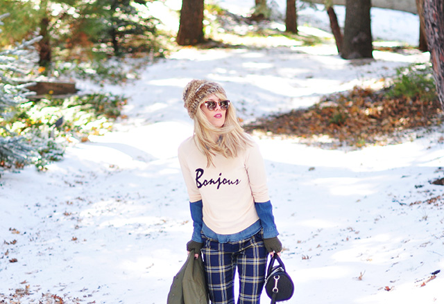 winter outfit in the snow_ bonjour sweater_plaid pants