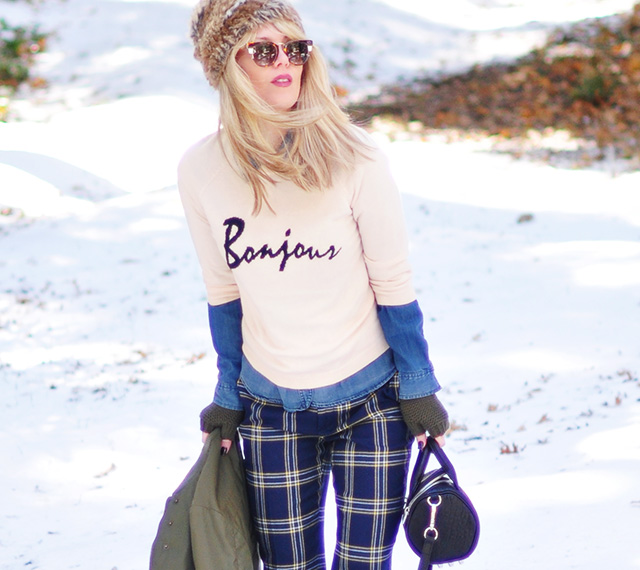 winter outfit in the snow_bonjour sweater_plaid pants