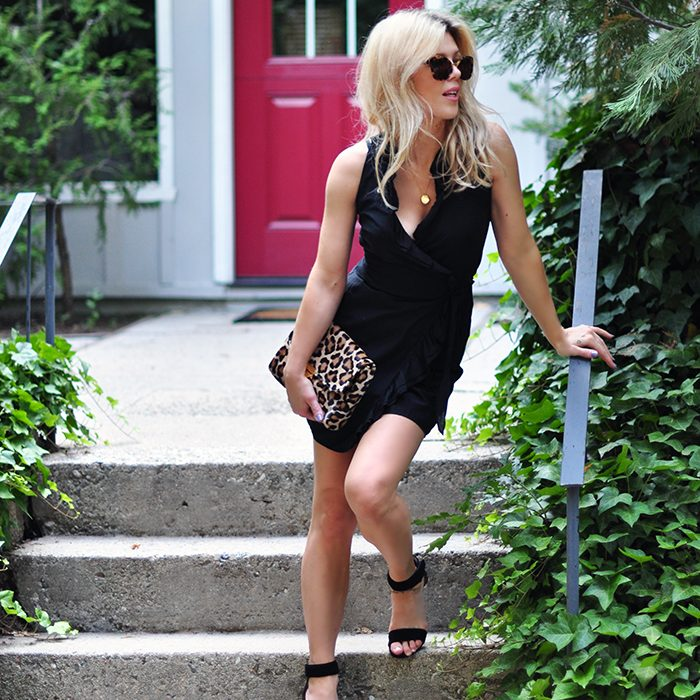 little black wrap dress with ruffle - leopard bag - summer style - love maegan