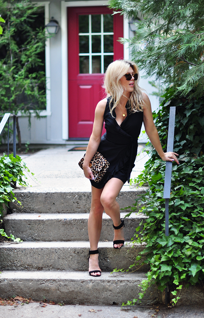 little black wrap dress with ruffle - leopard bag - love maegan tintari