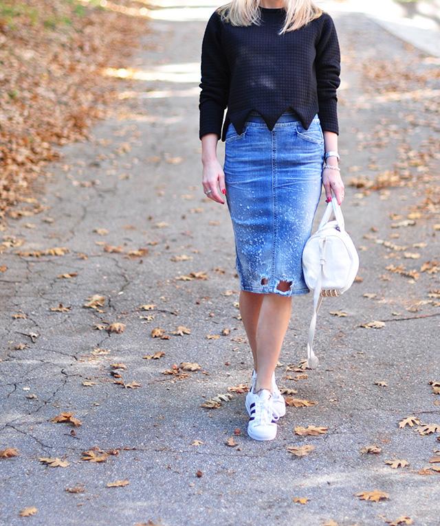 zig zag edge sweatshirt with denim skirt and adidas